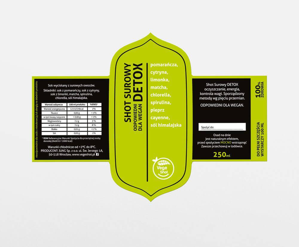 Etykieta samoprzylepna Vegeshot 2w1 przod i tyl zywy zielony  - Etykiety, banderole