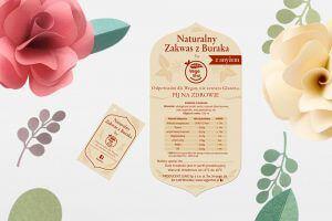 Etykieta samoprzylepna wycinana do ksztaltu Zakwas z buraka Vegeshot eko kwiaty min 300x200 - Etykiety, banderole