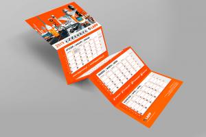 Kalendarz trójdzielny firmowy z wypukłą główką pomarańczowy