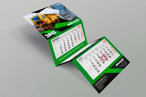 Kalendarz trójdzielny firmowy z wypukłą główką transportowy z pociągiem