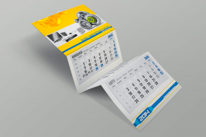Kalendarz trójdzielny firmowy z wypukłą żółtą główką