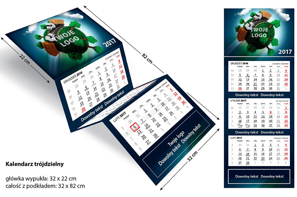 Kalendarz trójdzielny firmowy z wypukłą główką wymiary