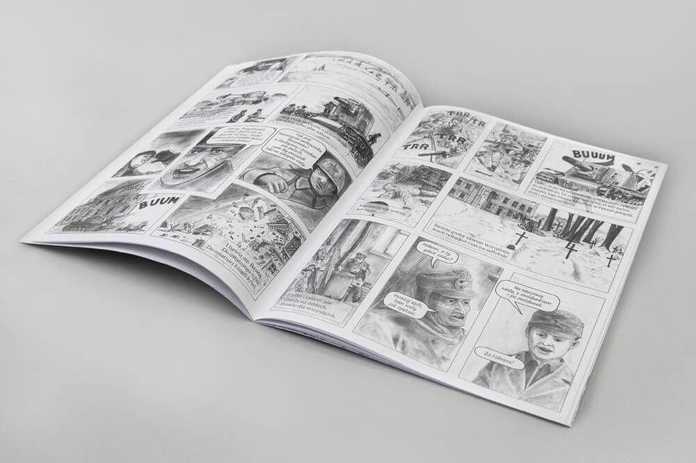 Broszura ksiazka komiks bialo czarny