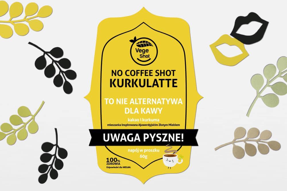 Etykieta samoprzylepna wycinana zolta nocoffee