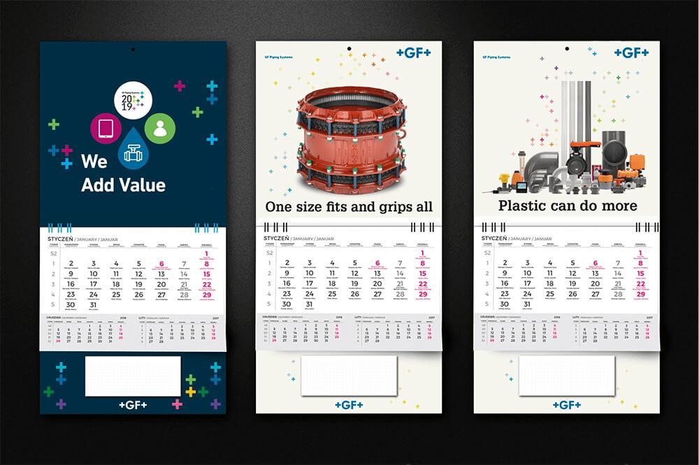 Kalendarze scienne na grubej tekturze 3 wzory aqrat