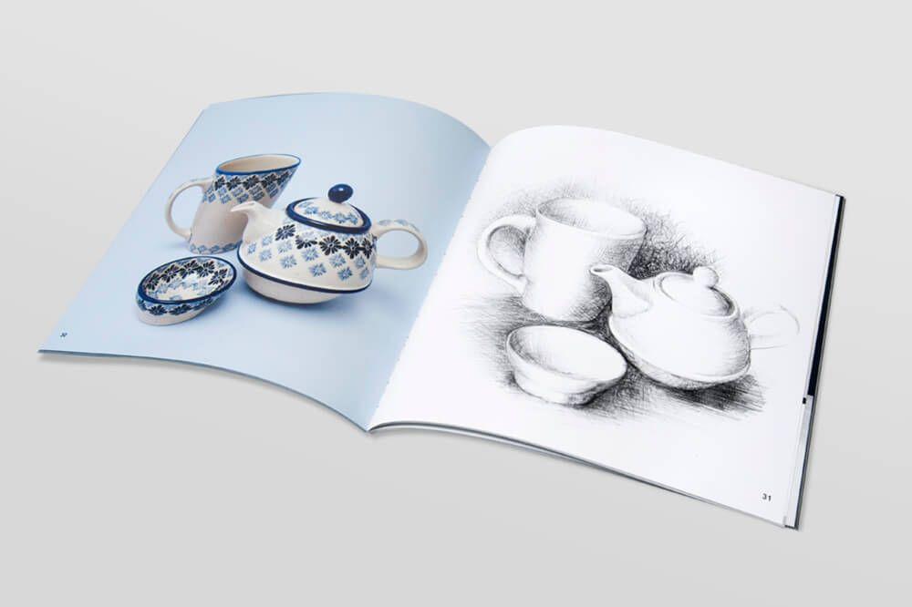 Katalog ksiazka w oprawie miekkiej klejonej ceramika boleslawiecka