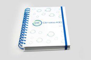 Notes firmowy w twardej okladce na grubej niebieskiej spirali