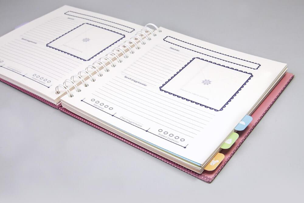 Notes organizer na grubej spirali z registramii