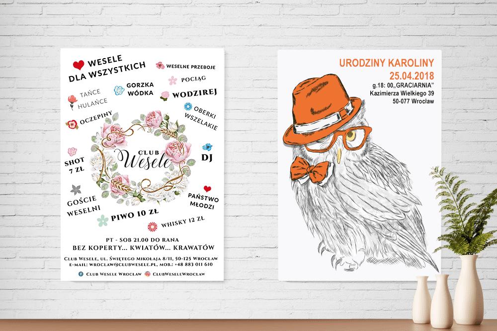 Plakaty B2 klub wesele i sowa w kapeluszu