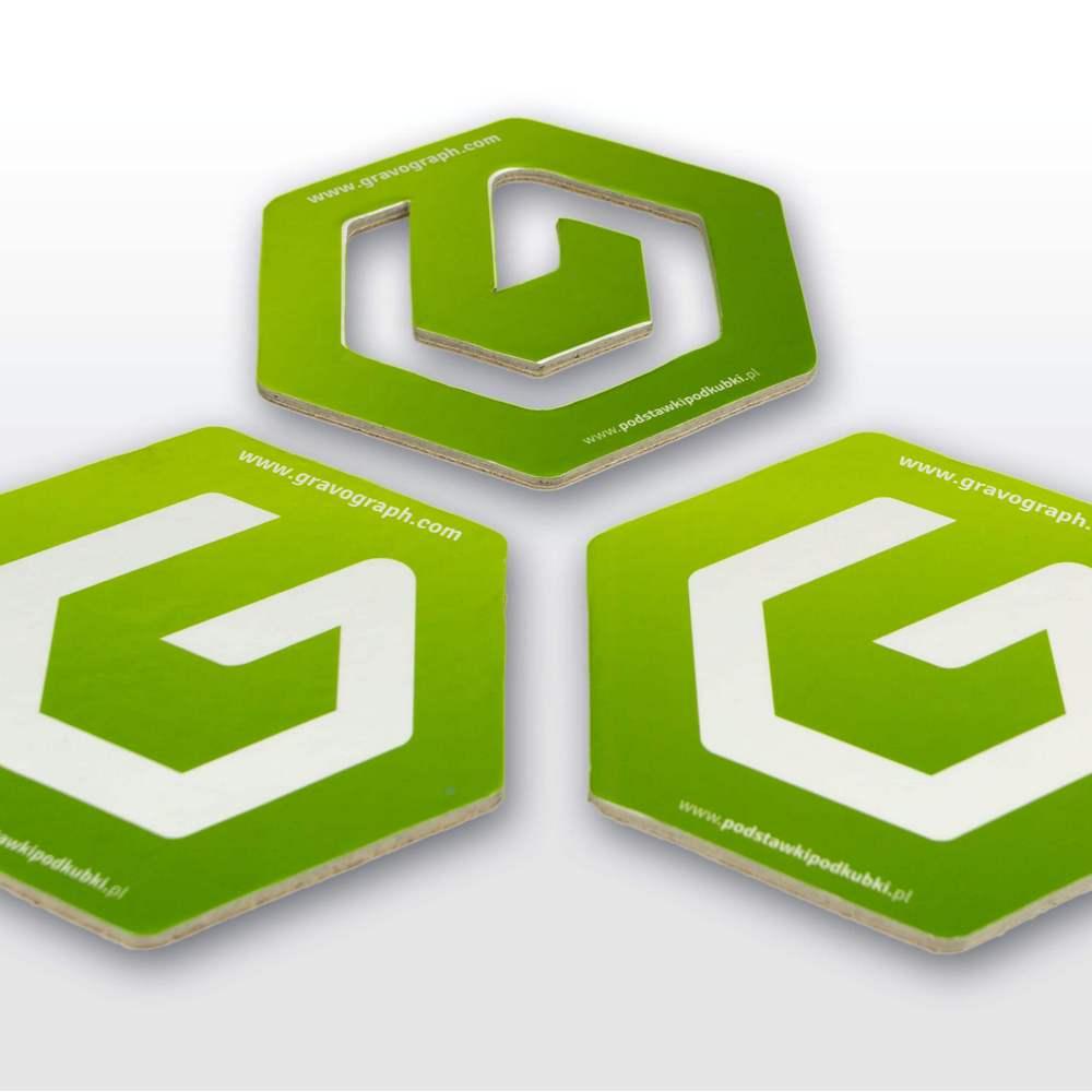 Podstawki pod kubki wyciete w ksztalt logo heksagon - Podstawki pod kubki