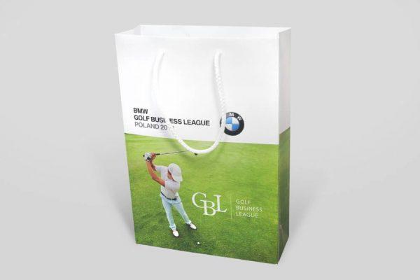 Torba papierowa ekskluzywna matowa z bawelnianymi uchwytami bmw golf
