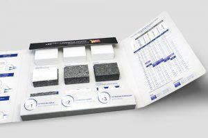 Wzornik produktow kartonowa teczka z wklejonymi probkami styropianow