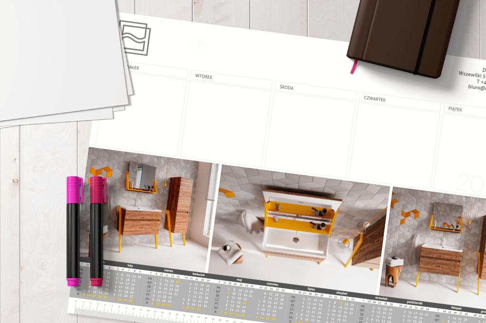 Kalendarz na biurko biuwar z indywidualnym nadrukiem firmowym
