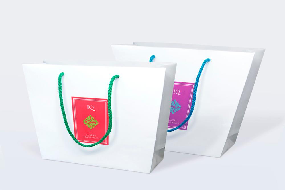 Torba papierowa szoperka biała z kolorowym logo