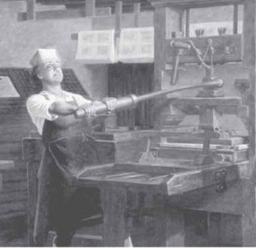 Benjamin Franklin w swojej drukarni Charles E. Mills 500x484 - Od drukarza do prezydenta....wiedzieliście?