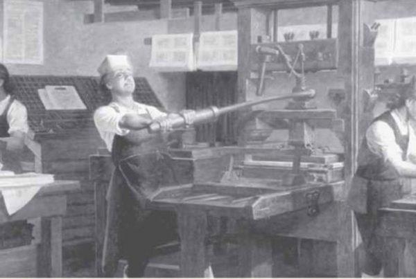 Benjamin Franklin w swojej drukarni Charles E. Mills 600x403 - Od drukarza do prezydenta....wiedzieliście?