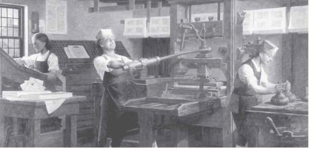 Benjamin Franklin w swojej drukarni Charles E. Mills - Od drukarza do prezydenta....wiedzieliście?